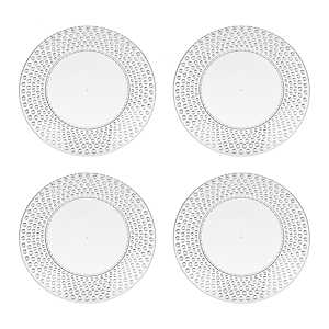 Clear Hobnail Acrylic Dinner Plates, Set of 4