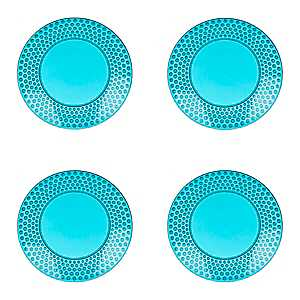 Teal Hobnail Acrylic Dinner Plates, Set of 4