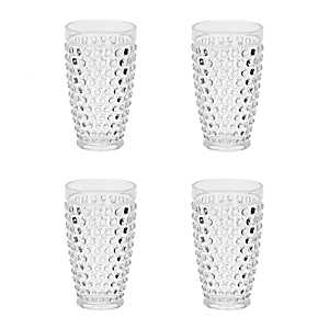 Clear Hobnail Acrylic Tumblers, Set of 4