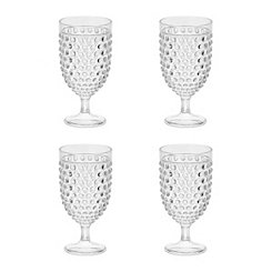 Clear Hobnail Acrylic Wine Glasses, Set of 4