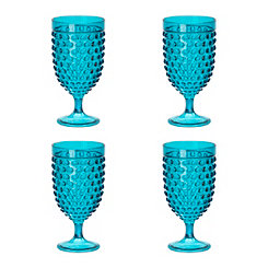 Teal Hobnail Acrylic Wine Glasses, Set of 4