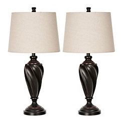 Bronze Twist Table Lamps, Set of 2