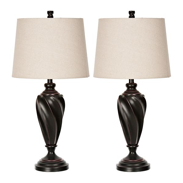 Bronze Twist Table Lamps, Set Of 2