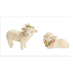Ivory Lamb Figurines with Flower Crowns, Set of 2