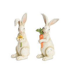 Ivory Rabbit Figurines, Set of 2
