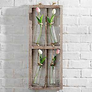 Hanging Quad Bud Vases Wood Wall Plaque