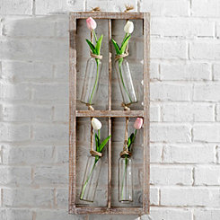 Hanging Quad Bud Vases Wood Wall Plaque