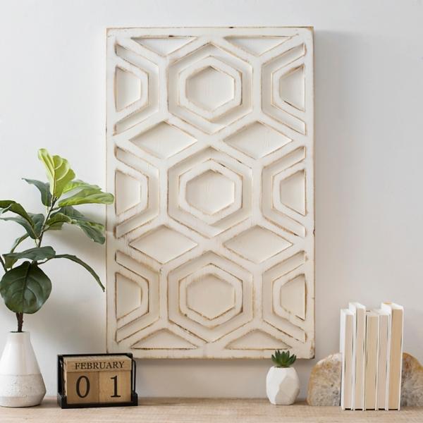 White Geometric Honeycomb Wood Panel Wall Plaque