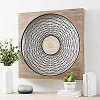 Abstract Basket Weave Wood and Metal Wall Plaque