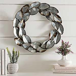 Galvanized Metal Leaf Wreath
