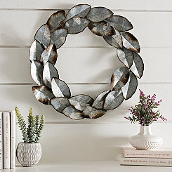 Galvanized Metal Leaf Wreath