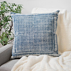 Shibori Denim Print Cotton Pillow