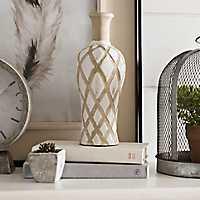 White Lattice Ceramic Vase, 11 in.