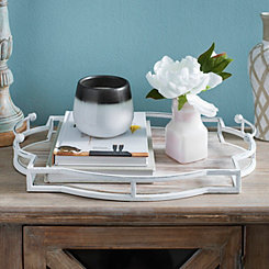 Iron and Wood Quatrefoil Tray