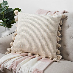Woven Textured Pillow with Tassels