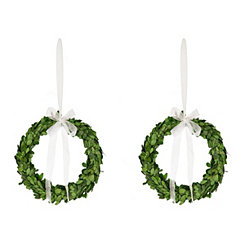 Preserved Boxwood Wreaths, Set of 2