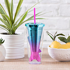 Blue Mermaid Tail Tumbler