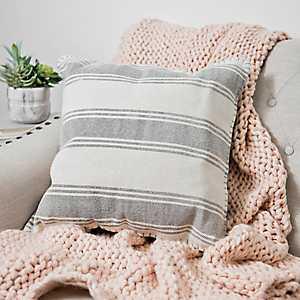 Light Gray Striped Dhurrie Pillow