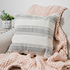 Light Gray Striped Dhurrie Pillow