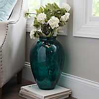 Teal Recycled Glass Vase, 18 in.