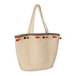 Multicolor Pom Straw Beach Bag