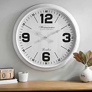 Brushed White Wall Clock