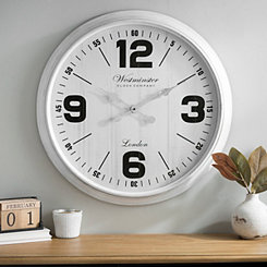 Brushed White Wall Clock