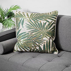 Gold and Green Fern Leaf Pillow