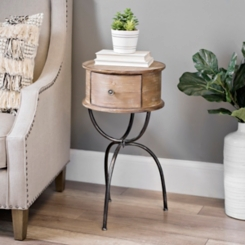 Distressed Round Wood and Iron Table