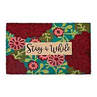 Stay Awhile Floral Doormat