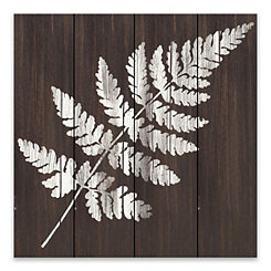 White Fern Wood Art Print
