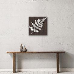 White Fern Wood Art Print