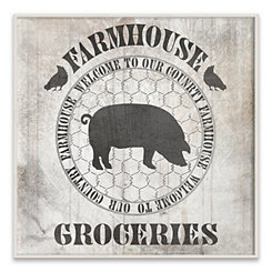 Farmhouse Groceries Wood Art Print