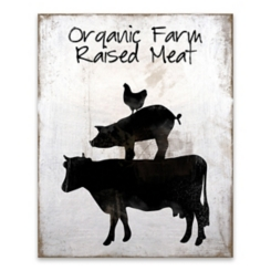 Organic Farm Raised Meat Wooden Box Plaque