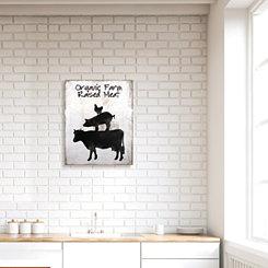 Organic Farm Raised Meat Wooden Box Plaque