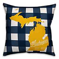 Michigan Buffalo Check Pillow
