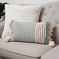 Textured Wool Accent Pillow with Tassels