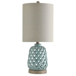 Powder Blue Open Weave Ceramic Table Lamp