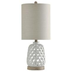 White Open Weave Ceramic Table Lamp