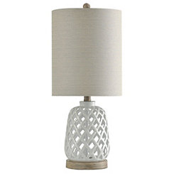 White Open Weave Ceramic Table Lamp