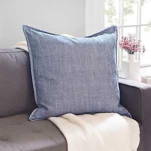 Blue Cotton Flange Pillow