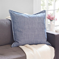 Blue Cotton Flange Pillow