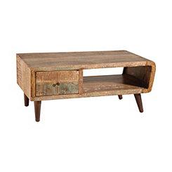 Mid-Century Reclaimed Acacia Wood Coffee Table