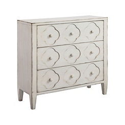 Chalk White Quatrefoil 3-Drawer Chest