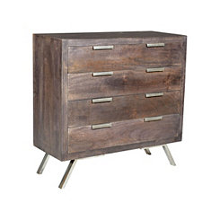 Retro Mango Wood 4-Drawer Chest