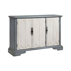 Slate Blue and White 3-Door Cabinet