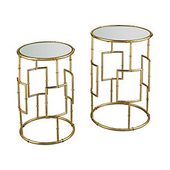 Gold Geometric Accent Tables, Set of 2
