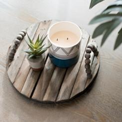 Round Wood Slat Tray