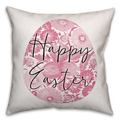 Floral Happy Easter Egg Pillow