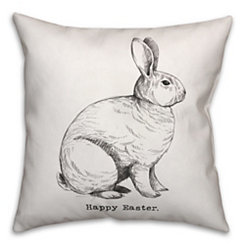 Grayscale Happy Easter Pillow